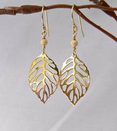 Vermeil Leaf Earrings with Gold Filled Earwires by PiecesByEmily, $26.00