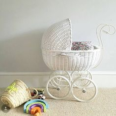 It's another very busy Monday here at the CT HQ. Our beautiful white wicker dolls pram has been our best seller over the weekend. Isn't it beautiful? Sweet wooden rainbow puzzle and pastle retro metro car sets also in stock. (Beautiful personalised wicker basket via @edit.58 and prettiest liberty print dolls bedding from @cocoandwolf 💕) #monday #mondayagain #mondayfeels #thatsdarling #cottagetoys #letsdothis