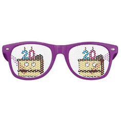 20th Birthday Cake with Candles. Retro Sunglasses