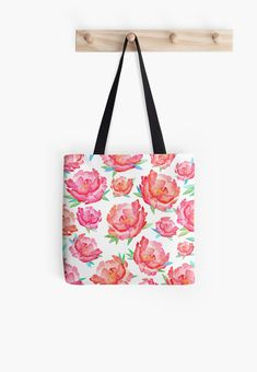 """""""Blushed Out Peony"""" Tote Bags by amayabrydon Cotton Tote Bags, Reusable Tote Bags, Canvas Prints, Art Prints, Peony, Pouches, Watercolour, Chiffon Tops, Phone Case"""