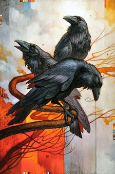 Native american picture art of animals | spiritual native American influenced painting of three ravens, bird ...