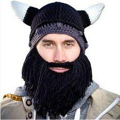 add15837408 Beard Head Barbarian Looter Hat with Black Beard