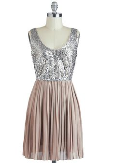 Holiday Sparkle Dress in silver and taupe