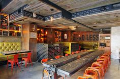 I really like this restaurant layout, rural industrial with an edge of modern/contemporary revealed in certain elements