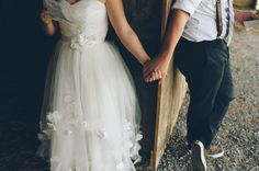 gorgeous, modern, and unique wedding gown | Abby & Logan's thrifted, DIY Adventure themed Virginia barn wedding | Images: An Endless Pursuit