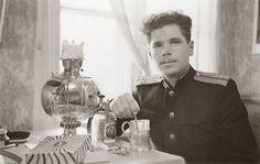 USSR 1950s. Samovar, steel glass holder, plum jam, box of pralines.