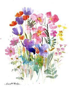 Original Watercolour Painting - Meadow Flowers- by Annabel Burton