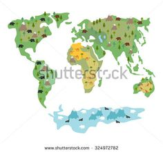 Map of world with animals and trees. Geographic globe with flora and fauna. Conditional cartoon with bears and kangaroos. Earth Atlas continents and oceans