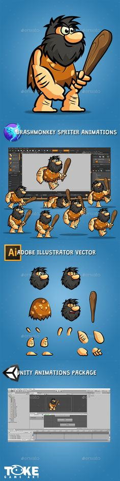 Bob The Cave Man - Sprites #Game Assets Download here: https://graphicriver.net/item/bob-the-cave-man/17033678?ref=alena994