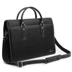 Business Bag for Men Black Leather Briefcase Genova 6122