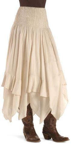 >>> long skirt. boots.: