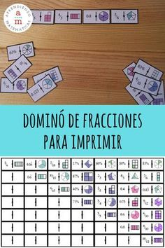 [IMPRIMIBLE gratuito] Dominó de fracciones para aprender jugando. Math For Kids, Fun Math, Math Games, Math Activities, Teaching Fractions, Teaching Math, Touch Math, Math Projects, Simple Math
