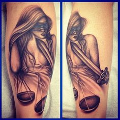 Lady justice tattoo I have :) Cop Tattoos, Snapback And Tattoos, Zodiac Tattoos, Body Art Tattoos, Law Tattoo, Sheepdog Tattoo, Police Tattoo, Justice Tattoo, Cherub Tattoo
