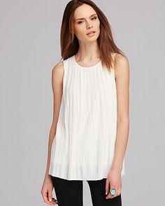 Calvin Klein Sleeveless Pleated Top | Bloomingdale's