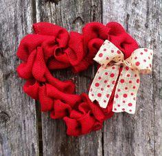 Burlap heart valentines wreath, valentines day wreath, red heart wreath, valentines day decor