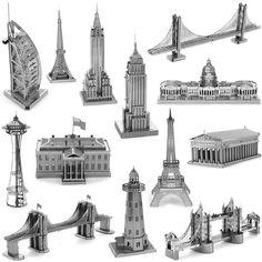 NUEVO Metal 3D Modelo de Rompecabezas para niños Adultos Juguetes Rompecabezas de Metal Big Ben Torre de Tokio Sky Wheel NOSOTROS congreso rompecabezas educativos juguetes