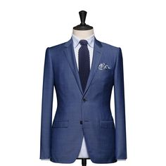 Tailored 2-Piece Suit – Fabric 4583 Plain Blue Cloth weight: 240g Composition: 100% Wool