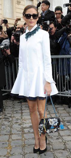 Olivia Palermo, white shirt dress with peek-a-boo tulle Fashion Mode, Look Fashion, High Fashion, Womens Fashion, Fashion Trends, Curvy Fashion, Fashion Details, Fashion Boots, Street Fashion