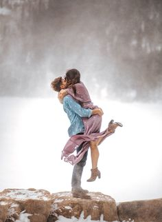 Snowy Rocky Mountain Engagement Photos - Inspired By This