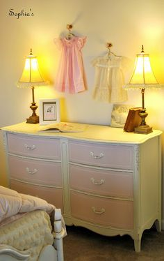 chalk paint. The body, detail on drawers, and handles are Old White and the drawers were painted with a 50-cent bottle of clearance Martha Stewart tester in Ballet Slipper Pink. It's the perfect pale pink!