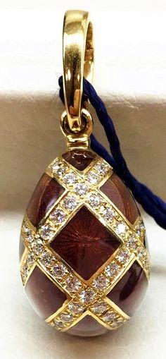 Faberge 18K Yellow Gold & Diamond Egg Pendant, Limited Edition #124/1000 *NEW* #Faberg #Pendant