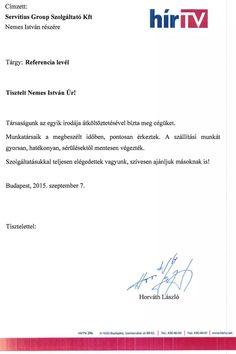 Horváth László - HírTV irodaköltöztetése után kapott köszönőlevele