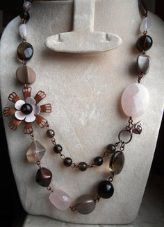 reserved listing for M 1950s style retrò enamel flower with stones, pink quartz, smoky quartz, glass and antiqued copper OOAK