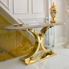 Create a statement with the 24 Carat Gold and Lacquer Designer Console Table, striking in any interior. Gold Furniture, Steel Furniture, Table Furniture, Luxury Furniture, Furniture Design, Smart Furniture, Modern Console Tables, Entrance Decor, Modern Interior