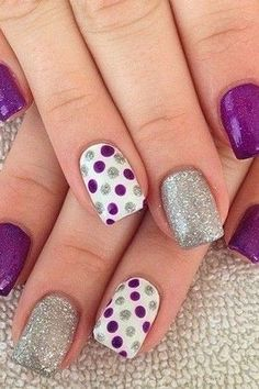 Gel Nail Designs You Should Try Out – Your Beautiful Nails Sparkle Nail Designs, Sparkle Nails, Short Nail Designs, Gel Nail Designs, Fancy Nails, Nails Design, Purple And Silver Nails, Purple Nail Art, Blue Nail
