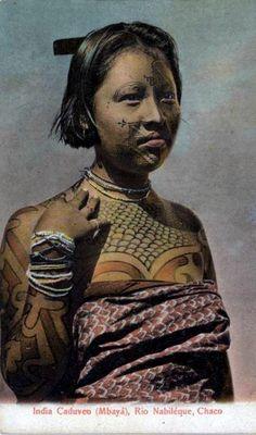 "Argentina | ""India Caduveo (Mbayà) - Rio Nabiléque, Chaco"" | Vintage postcard; publisher R. Rosaner. No. 279"