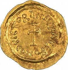 CONOB fordított bizánci arany Tremissis Maurice Tiberius