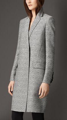 Black/white Oversize Wool Silk Blazer Coat - Image 1