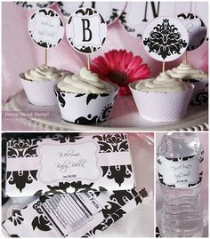 So sweet! Damask Baby Shower Printables - Black and Pink - W. BONUS GAMES - Party Printables - Party Supplies and decorations - Complete Set -