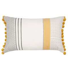 Printed Cotton Cushion Cover with Pom Poms on Maisons du Monde. Take your pick from our furniture and accessories and be inspired! Hallway Furniture, Sideboard Furniture, Small Furniture, Dining Room Bench Seating, Living Room Chairs, Small Space Interior Design, Interior Design Living Room, Sun Lounger Cushions, Cushions On Sofa