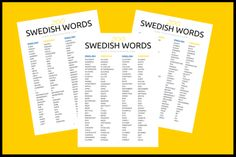 Free Printable Commonly Used Swedish Words With English Translations Includes Follow Up Emails