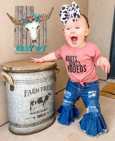Western Baby Girls, Western Baby Clothes, Baby Kids Clothes, Country Baby Clothes, Cowgirl Baby, Little Babies, Little Girls, Cute N Country, Country Babies