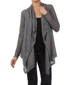 Take+a+look+at+the+Pretty+Young+Thing+Gray+Loose-Knit+Flyaway+Sidetail+Cardigan+on+#zulily+today!