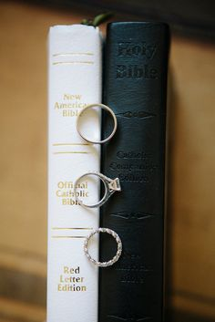 Rings on bride and groom's personal Bibles.