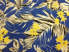 Lovely Vintage Tropical Print Fabric - 3 5/8 Yards