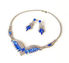 Vintage Rhinestone Jewelry Set Necklace  Earrings Clear Blue 1960s
