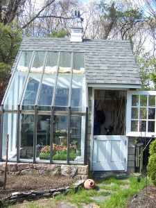 Potting Shed. Love the split door.  What a great idea to join a shed and a greenhouse together.