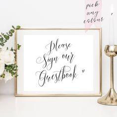 Please Sign Our Guestbook, printable guestbook sign, guest book sign, instant download, customised colour, guest book sign by penpenpaper on Etsy