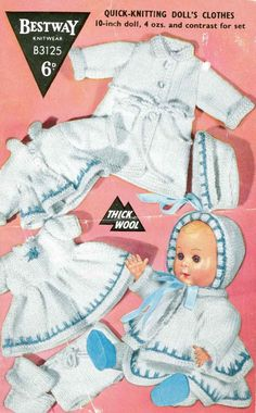 Vintage knitting pattern for dolls/reborns outfits Bestway 3125 10 in dolls by AliPalisPlace on Etsy