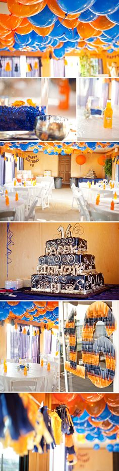 Fun 16th birthday idea - love the blue and orange but would change it to pink and black