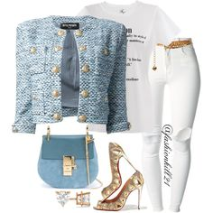 A fashion look from January 2016 featuring Balmain jackets, (+) PEOPLE jeans and Christian Louboutin pumps. Browse and shop related looks. Classy Outfits, Stylish Outfits, Fall Outfits, Fashion Outfits, Fashion Trends, Love Fashion, Autumn Fashion, Fashion Looks, Womens Fashion