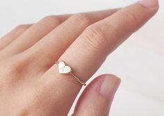 Custom Initial Heart Ring Stackable Initial by GracePersonalized