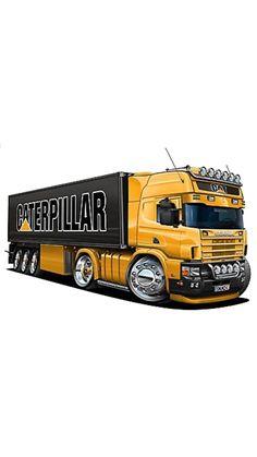 Redneck Trucks, Truck Coloring Pages, Custom Big Rigs, Truck Art, Car Illustration, Car Posters, Car Drawings, Car Sketch, Car Painting