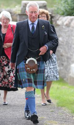Prince Charles donned full Scottish highland dress as he attended the church service in Caithness