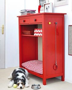 I have a 6 drawer short dresser that I plan to take the bottom two drawers out and do this.  It will be great to get rid of the huge wire kennel that my collie only uses as a bed, door is never shut.