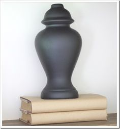 AFTER ~~ Lamp base turned into vase.....I would spray a different color, or maybe even use frosted glass spray paint
